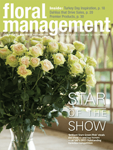 "'Brilliant Stars Green Pink', a spray rose, earned the coveted title ""Best in Show"" at SAF Amelia Island 2015 and graced the November 2015 cover of Floral Management Magazine."