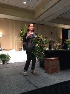 Laura Daluga, AIFD, of The Department of Floristry in Ann Arbor, Michigan, shared enchanting designs that maximize negative space. Check out a video of Daluga speaking at the conference – including her tips on alternative to chicken wire forms.
