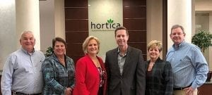 Rep. Rodney Davis (R-Illiniois-13), center) visited last week with members of Hortica's executive team, including John Hodapp, Joan O'Saben, Mona Haberer, Traci Dooley and Brent Bates.