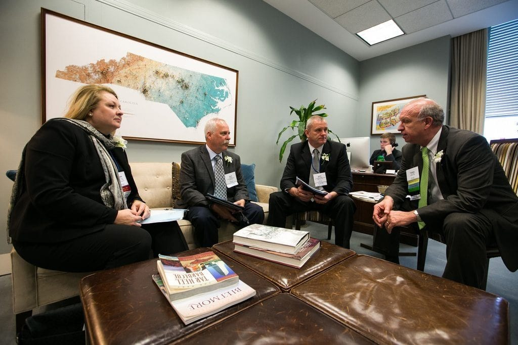 Bert Lemkes (center), general manager of Tri-Hishtil, talked to The Washington Post about his perspective on E-Verify. He and a group of floral industry members from North Carolina discussed the issues with lawmakers and staff at past Congressional Action Days.