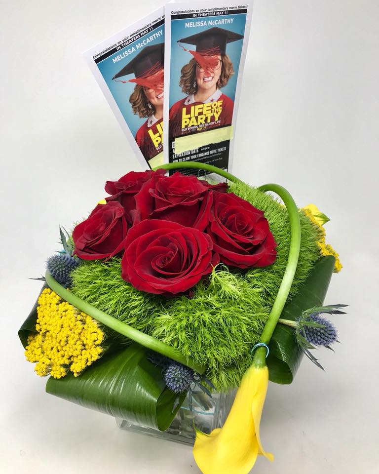 Starbright Floral Design paired flowers with movie and theater tickets for a memorable Mother's Day promotion.