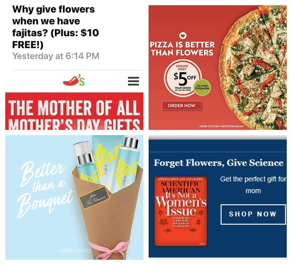 """As the voice of the industry, SAF contacts companies and asks them to reconsider their promotional approach of knocking floral gifts. Among the companies contacted this Mother's Day season: Chili's® Grill & Bar, Papa Murphy's Take 'N' Bake Pizza, Pure Romance and Scientific American."""""""
