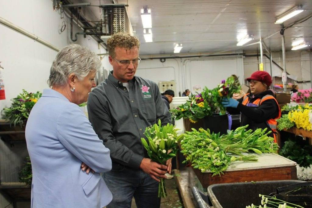 """We got a call several days before from her local office, asking to coordinate the visit, and of course we said yes,"""" said Rodi Groot, Sun Valley's product manager and Sun Pacific Bouquet manager, of the lawmaker's visit."""