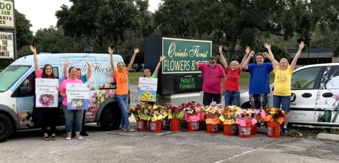 In Florida, employees at Oviedo Florist got into the spirit before their Petal It Forward event.