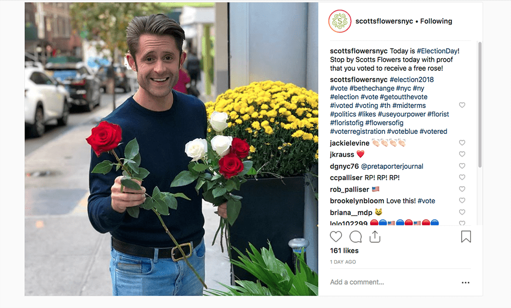 scottsflowersnycToday is #ElectionDay! Stop by Scotts Flowers today with proof that you voted to receive a free rose!