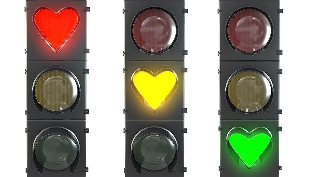 mistakes to avoid with a traffic light with heart shaped red, yellow and green lamps